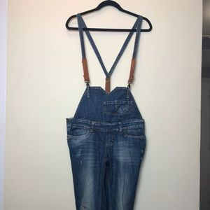Zara Trafaluc distresed denim overalls